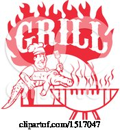 Poster, Art Print Of Red Male Chef Carrying And Alligator To A Football Shaped Bbq Under Grill Text Flames