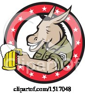 Clipart Of A Military Donkey Holding A Beer Mug In A Star Ring Royalty Free Vector Illustration