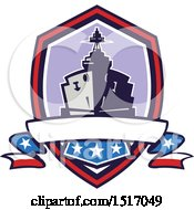Poster, Art Print Of Retro Crest With A Battleship With Stars And Stripes Flags
