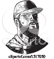 Bearded Chef Wearing A Baseball Cap In Black And White Woodcut