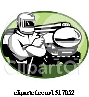 Clipart Of A Retro Tig Welder Holding A Torch By A Tanker Truck In An Oval Royalty Free Vector Illustration