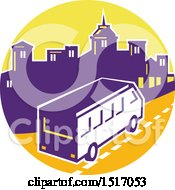 Clipart Of A Retro Tour Bus In A Town Skyline Circle Royalty Free Vector Illustration