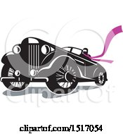 Clipart Of A Driver Wearing A Long Purple Scarf In A Vintage Convertible Automobile Royalty Free Vector Illustration