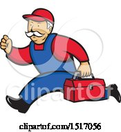 Clipart Of A Heating And Air Conditioning Service Technician Man Running Royalty Free Vector Illustration