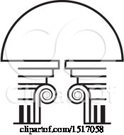 Clipart Of A Black And White Architectural Arch Royalty Free Vector Illustration
