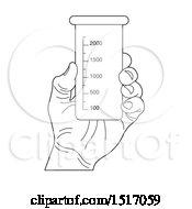 Black And White Hand Holding A Beaker