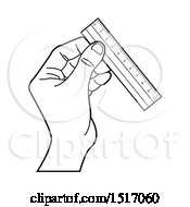 Clipart Of A Black And White Hand Holding A Ruler Royalty Free Vector Illustration by Lal Perera