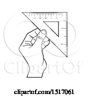 Clipart Of A Black And White Hand Holding A Set Square Royalty Free Vector Illustration by Lal Perera