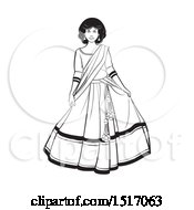 Clipart Of A Black And White Woman In A Lehenga Skirt Royalty Free Vector Illustration