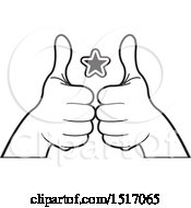 Black And White Star Between Hands Holding Up Thumbs
