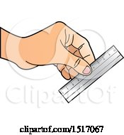 Clipart Of A Hand Holding A Ruler Royalty Free Vector Illustration by Lal Perera