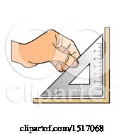 Clipart Of A Hand Holding A Set Square Royalty Free Vector Illustration by Lal Perera