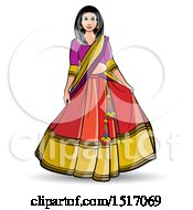 Clipart Of A Woman In A Lehenga Skirt Royalty Free Vector Illustration