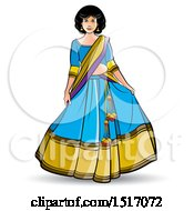 Clipart Of A Woman In A Lehenga Skirt Royalty Free Vector Illustration by Lal Perera