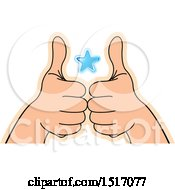 Clipart Of A Blue Star Between Hands Holding Up Thumbs Royalty Free Vector Illustration