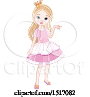 Clipart Of A Blond Princess Girl In A Pink Dress Royalty Free Vector Illustration