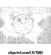 Clipart Of A Black And White Blowfish At A Coral Reef Royalty Free Vector Illustration