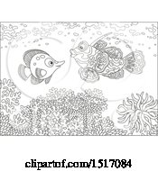 Clipart Of A Black And White Butterflyfish And A Mandarin Fish At A Coral Reef Royalty Free Vector Illustration