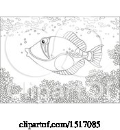 Clipart Of A Black And White Triggerfish At A Coral Reef Royalty Free Vector Illustration