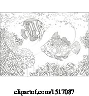 Clipart Of A Black And White Butterfly Fish And A Clown Triggerfish At A Coral Reef Royalty Free Vector Illustration by Alex Bannykh
