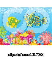 Clipart Of A Butterflyfish And A Mandarin Fish At A Coral Reef Royalty Free Vector Illustration