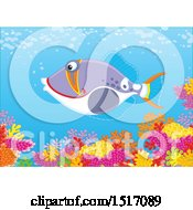 Clipart Of A Triggerfish At A Coral Reef Royalty Free Vector Illustration