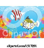 Clipart Of A Butterfly Fish And A Clown Triggerfish At A Coral Reef Royalty Free Vector Illustration by Alex Bannykh