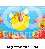 Clipart Of A Blowfish At A Coral Reef Royalty Free Vector Illustration