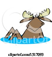 Clipart Of A Moose In Water Royalty Free Vector Illustration