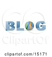 Colorful Volleyball Forming The Letter O In The Word Blog For An Internet Golfing Blog Clipart Illustration
