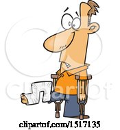Clipart Of A Cartoon White Guy With His Leg In A Crazy Cast Royalty Free Vector Illustration