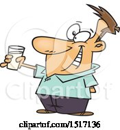 Clipart Of A Cartoon Sober White Guy Toasting With Milk Royalty Free Vector Illustration