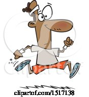 Clipart Of A Cartoon Black Guy Running Royalty Free Vector Illustration