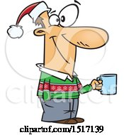 Cartoon Guy Wearing A Christmas Sweater And Santa Hat And Holding A Coffee Cup At A Party