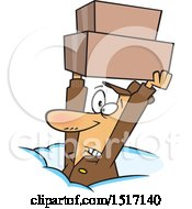 Clipart Of A Cartoon Dedicated White Delivery Guy Holding Up Boxes In The Snow Royalty Free Vector Illustration by toonaday