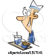 Clipart Of A Cartoon White Fast Food Worker Guy With A Tray Of Food At A Counter Royalty Free Vector Illustration