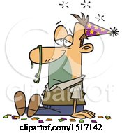 Clipart Of A Cartoon Hung Over White Guy After A New Years Party Royalty Free Vector Illustration