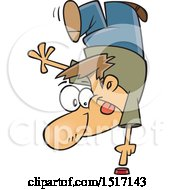 Clipart Of A Cartoon White Guy Doing A Trick To Push A Button Royalty Free Vector Illustration