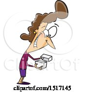 Clipart Of A Cartoon White Woman Enthused About A Gift Royalty Free Vector Illustration
