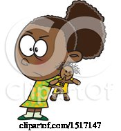 Clipart Of A Cartoon Selfish Girl Refusing To Share A Doll Royalty Free Vector Illustration