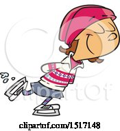 Clipart Of A Cartoon Girl Ice Skating Royalty Free Vector Illustration