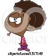 Cartoon Black Girl Sick With The Flu A Thermometer In Her Mouth