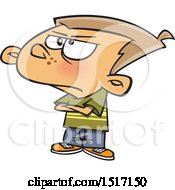 Clipart Of A Cartoon Grumpy Boy Royalty Free Vector Illustration
