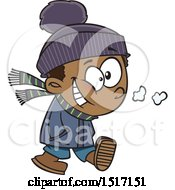 Clipart Of A Cartoon Happy Boy Taking A Winter Stroll Royalty Free Vector Illustration