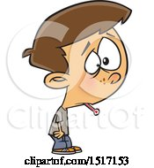Clipart Of A Cartoon Boy Sick With The Flu A Thermometer In His Mouth Royalty Free Vector Illustration