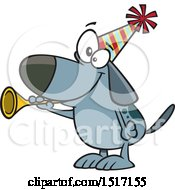 Cartoon New Years Dog Blowing A Horn