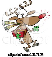 Clipart Of A Cartoon Rudolph Reindeer Carrying A Christmas Present Royalty Free Vector Illustration by toonaday