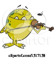Clipart Of A Cartoon Monster Playing A Violin Royalty Free Vector Illustration