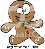 Clipart Of A Cartoon Gingerbread Man Running Royalty Free Vector Illustration