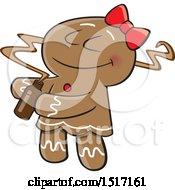 Cartoon Gingerbread Woman Smelling A Fragrance